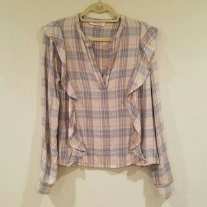 Two by Vince Camuto Serenade Ruffle Plaid Top